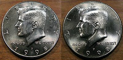 1998 P D Kennedy Half Dollar Coin Set 2 Brilliant Uncirculated Mint Set Coin's