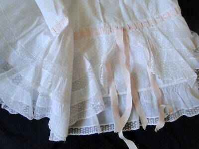 Circa 1900, Lovely Ladies Petticoat W/valencienne Lace,ribbons