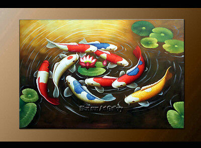 Large MODERN ABSTRACT OIL PAINTING Feng Shui Fish Koi Canvas wall Art Framed D07
