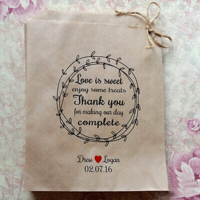 Love is Sweet complete Personalised Kraft brown Paper Lolly Buffet Bags x 50