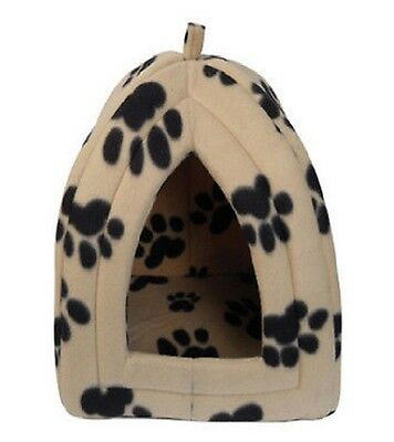 New Small Igloo Pet Bed Fleece Dog Puppy Polar Rabbit Cat Pyramid Kennel Cream