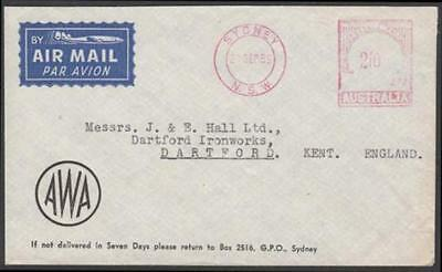 Australia 1956 AWA advertising cover with Sydney 2/- meter cancel