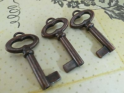 ( 3 pcs)Vintage Style Open Barrel Skeleton Key Furniture Cabinet- Antique Copper