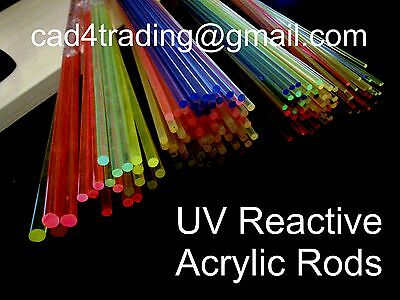 UV Reactive Light emitting Glowing Acrylic Perspex Rods Glow in Blacklight 250mm