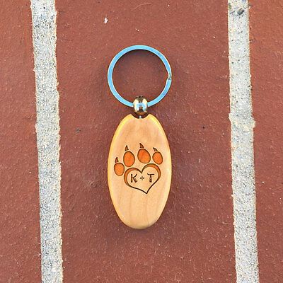 Heart with paws Wooden Key chain, Personalized key chain, gift idea