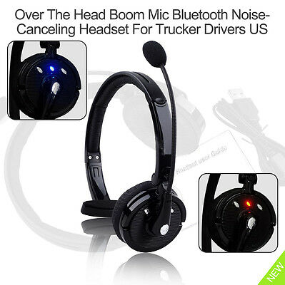 Wireless Stereo Bluetooth Headsets Headphone With Boom Mic For Trucker Drivers