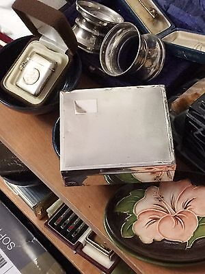 Silver Cigarette Box with engine turned lid - Walker & Hall (15) - 1928