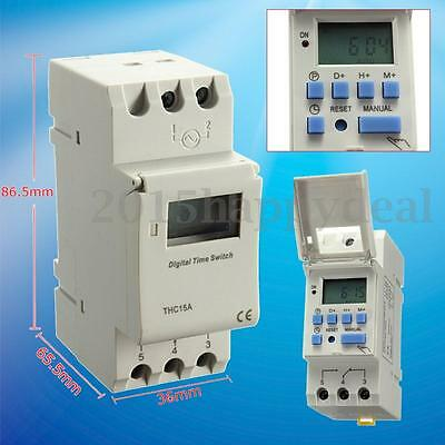 New DIN Rail Time Relay Switch Digital LCD Power Programmable Timer DC 12V 16A