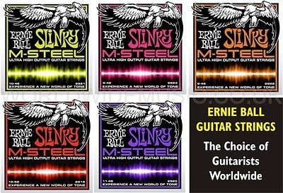 Ernie Ball M-Steel Slinky Electric Guitar Strings .with a Choice of 5 Gauges