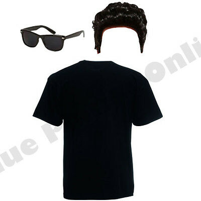 Mens Danny Grease Rock N Roll 1950S Fancy Dress Costume Outfit Top Wig Glasses