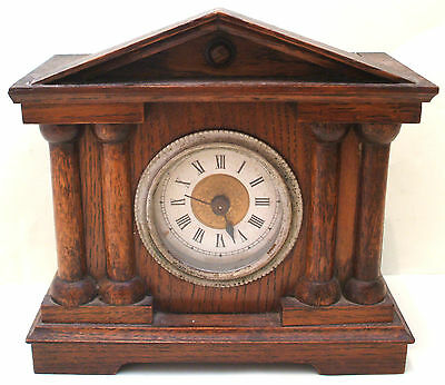 "Architectural Design Greek Style Oak Case Timepiece Mantle Clock GWO 6.5""H 7""W"