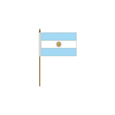 """Argentina Country Small 4 X 6  Mini Stick Flag With 10"""" Plastic Pole .. New"""