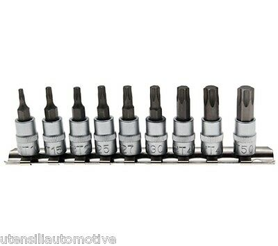 Set 9 BUSSOLE torx maschio attacco 1/4  made in Germany T10-50 acciaio S2