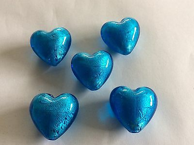 28 MM  Large Foil Glass Heart Loose Beads 5