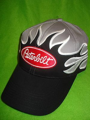 Peterbilt Hat  Black   Front Flame Solid Cloth  free Shipping In ... 7707e9ae2a84