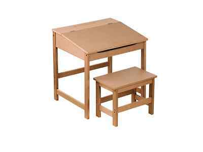 Natural Wooden Childrens Writing Homework Drawing Study Desk and Stool Set