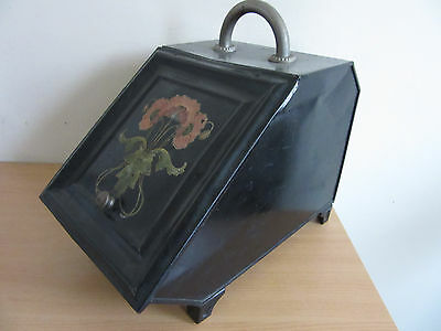 Antique 1800s Victorian Art Nouveau Painted Coal/Ash Scuttle Bucket
