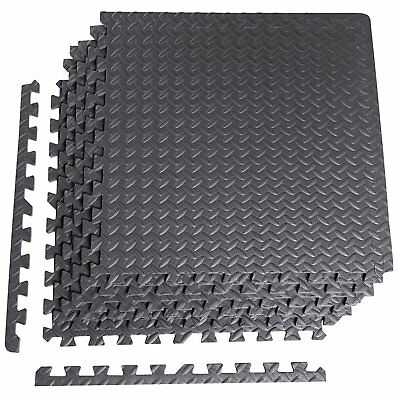 Gym Machine Floor Protector Anti-Microbial Puzzle Mat, 6-Piece