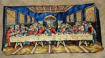 "THE LAST SUPPER Tapestry Wall Hanging Jesus & Disciples 19"" x 38"""