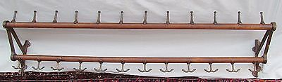 "Industrial Machine Age  68"" 19Th Century 12 Station Coat & Hat Hanger Rack"