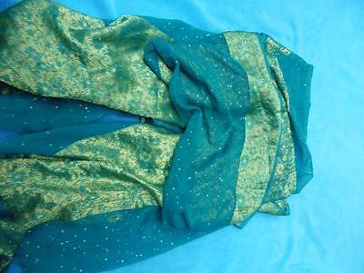 Stunning green & gold Indian Pakistani dupatta scarf shawl sofa drape Asian