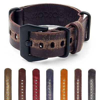 StrapsCo Distressed Leather Band Military Mens Watch Strap w/ Black Pre-V Buckle