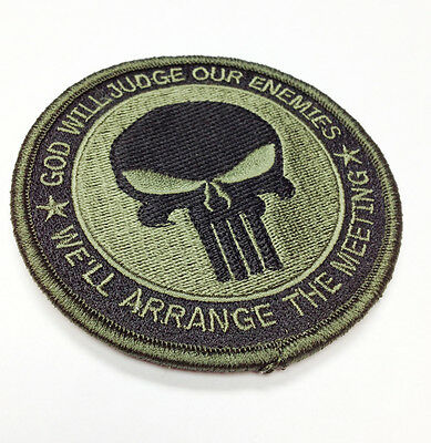 "Military Morale Patch God Will Judge Punisher Skull 3.25"" Hook&Loop #32937"