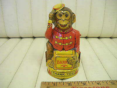 1940s J.Chein Tin Lithographed Hat Tipping Monkey Coin Bank