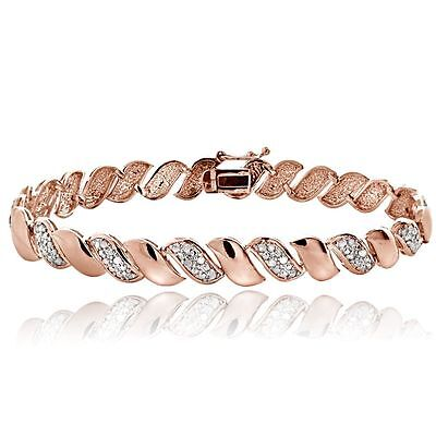 1ct TDW Lab Diamond San Marco Bracelet - Natural Rose Gold Plated on Brass 9mm