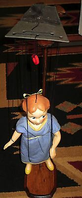 "1950's Peter Pan's ""Wendy"" Marionette Peter Puppet W-Custom Wooden Stand"