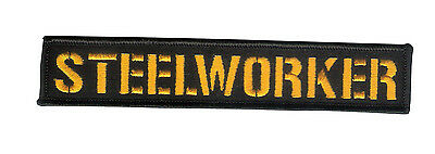 """New 6"""" X 1 1/8"""" STEELWORKER Embroidered Patch - HD Motorcycle - Pittsburgh USA"""