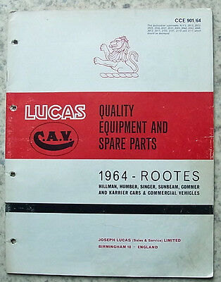 LUCAS ROOTES Spares List 1964 #901/64 HILLMAN Humber SINGER Sunbeam COMMER