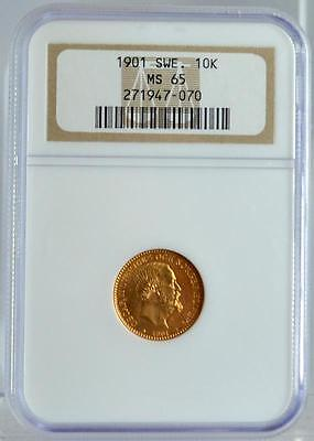 1901 Sweden Gold 10 Kronor NGC MS-65