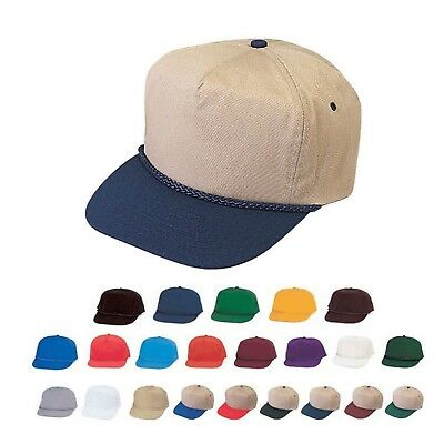 a32f4338fea Cotton Twill Blank Two Tone 5 Panel Baseball Braid Snapback Hats Caps