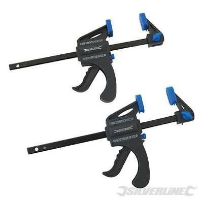 Silverline Quick Clamps 2pk 100mm Woodwork DIY Tool Heavy Duty Clamps 250108