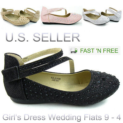 Girl's Kids Glitter Ballet Strap Flat Shoes Glittery Dress Crystal Party Wedding