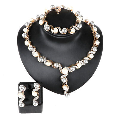 Fashion Bridal Pearl Crystal Wedding Necklace Earring Bracelet Party Jewelry Set
