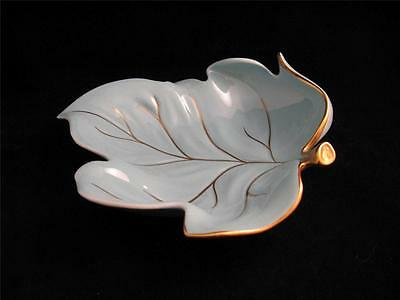 Carlton Ware TURQUOISE Blue Leaf DISH with Gold Trim *BEAUTIFUL!*