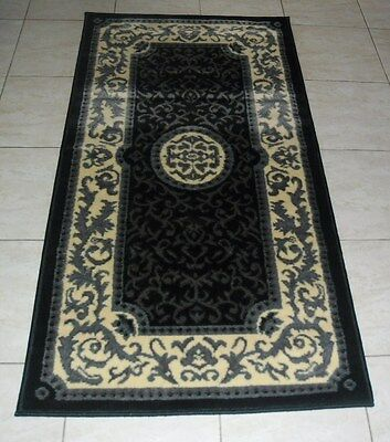 New Black Persian Design Hallway Floor Runner Rug 80X150Cm