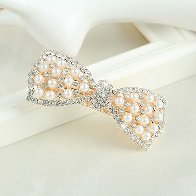 Women Girls Crystal Bow Hair Clip Hairpin Barrette Pearl Head Ornaments Fashion