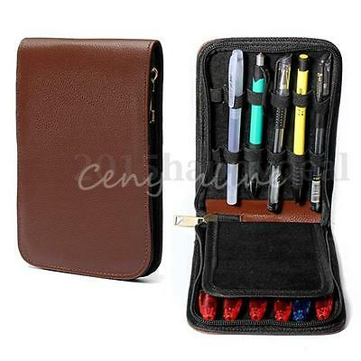 Fountain Pen Roller Brown Leather Binder Case Holder Stationery for 12 Pens UK