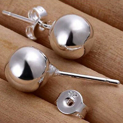 1 Pair Genuine Sterling Silver Ball Bead Studs Earrings Round Stud Earrings New