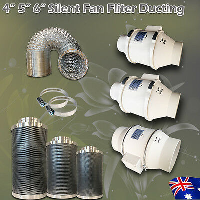"4"" 5"" 6"" Hydroponics Ventilation Kit Fan Filter Ducting For Grow Tent Grow Light"