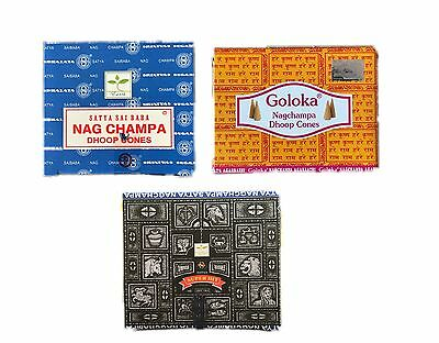 Nag Champa, Goloka, Super Hit, Golden Nag Chandan - Indische Räucherkegel, Neu