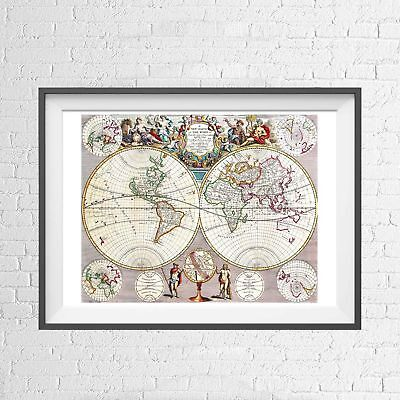 JON SENEX WORLD MAP 1721 WALL CHART POSTER PICTURE PRINT Size A5 to A0 **NEW**