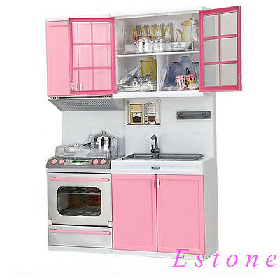 New Sale  Kids Kitchen Fun Toys Pretend Play Cook Cooking Cabinet Stove Set Toy