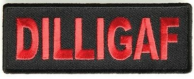 Biker Vest Patches DILLIGAF  Sew/Iron Motorcycle Bike Rider Leather Lady Men's