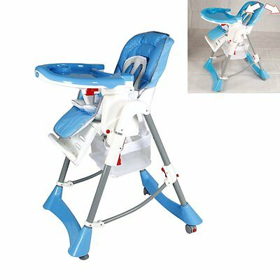 Foldable Baby High Chair Recline Highchair Height Adjustable Feeding Seat Safe
