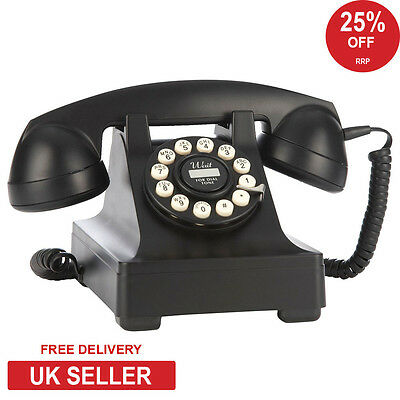 Wild & Wolf Series 302 Retro Classic Phone in Black