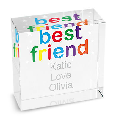 Personalised GLASS BLOCK - BEST FRIEND GIFT, FRIENDSHIP TOKEN, FRIENDSHIP GIFT